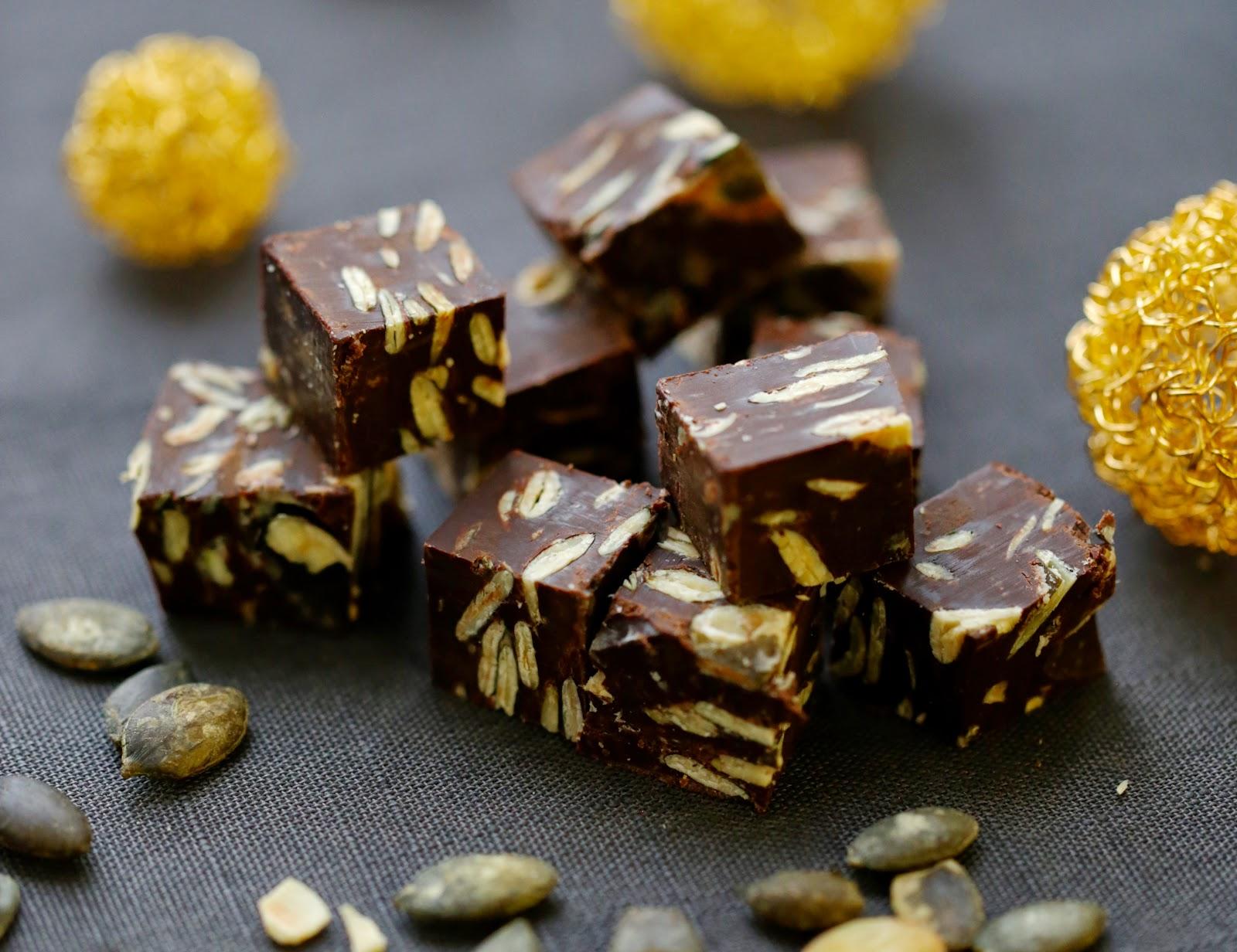 fudge , chocolat , noir , truffes, graines de courge , noel