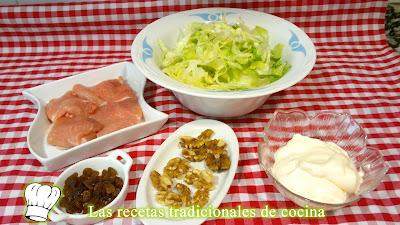 ingredientes ensalada de pechuga nueces y pasas
