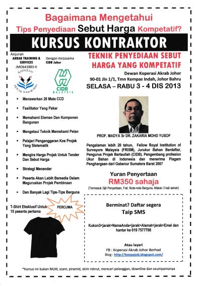 Kursus Kontraktor Teknik Penyediaan Sebut Harga Kompetatif 3 -4 Dis 2013