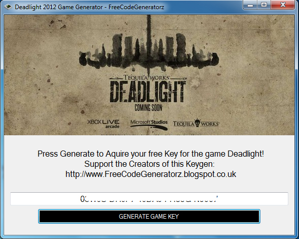 This Generator will generate a CD-key for the Game: Deadlight 2012, This is