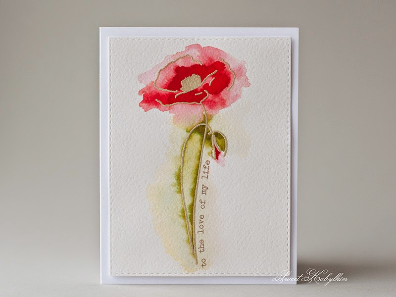 Romantic Card with Painted Poppies from Altenew by Sweet Kobylkin