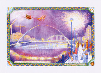 Newcastle Christmas card Gateshead Christmas card Millennium Bridge Newcastle Gateshead Christmas card by North East artist Ingrid Sylvestre Giraffe greetings from Newcastle - Gateshead