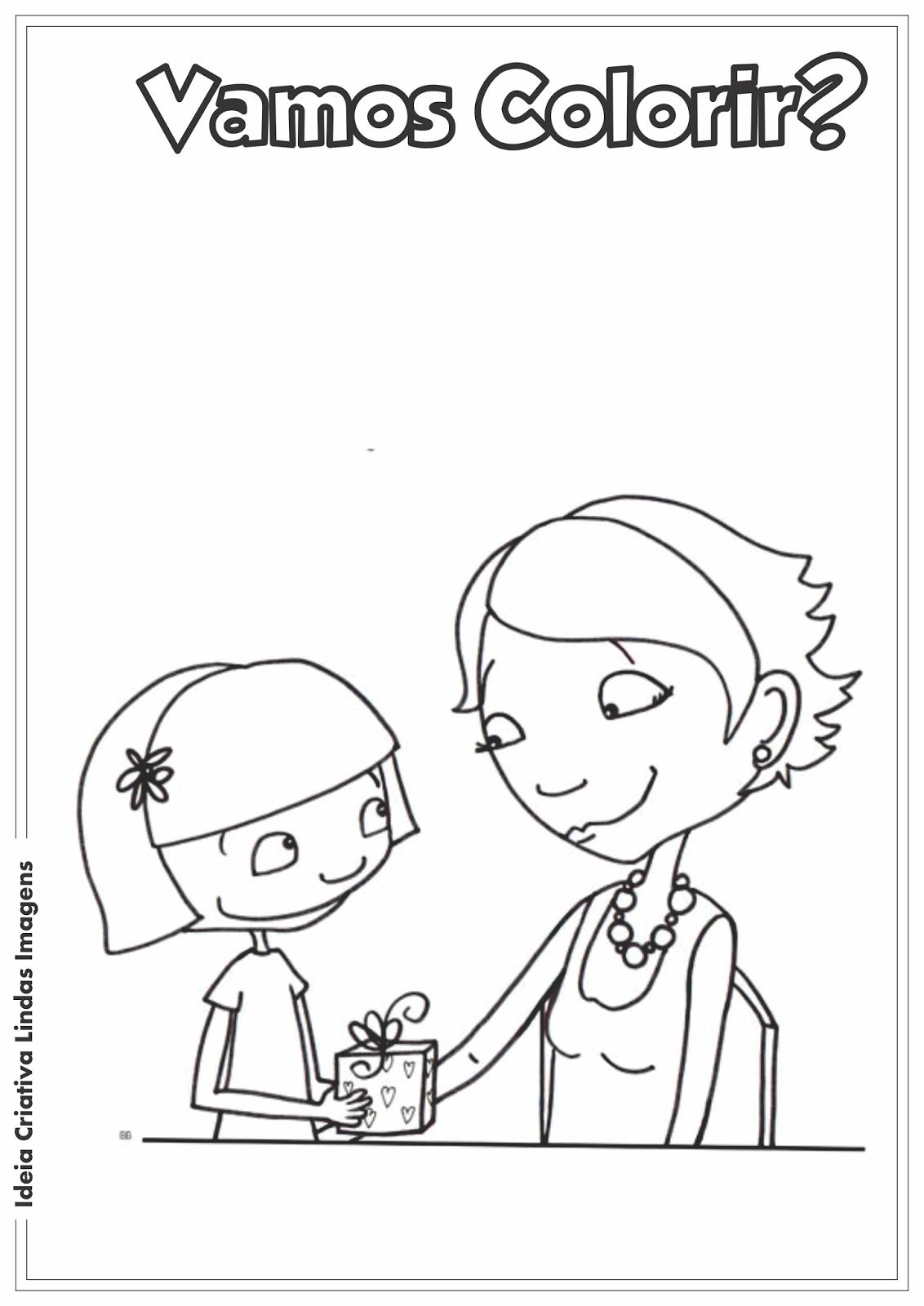 Dia das Mães desenho para colorir