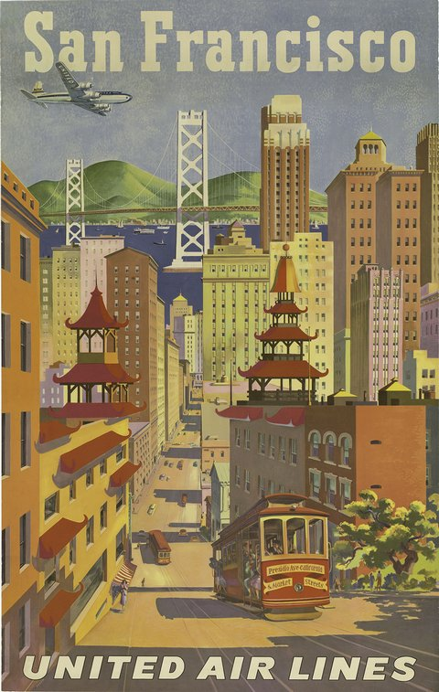 classic posters, free download, graphic design, retro prints, travel, travel posters, vintage, vintage posters, San Francisco, United Air Lines - Vintage Travel Poster