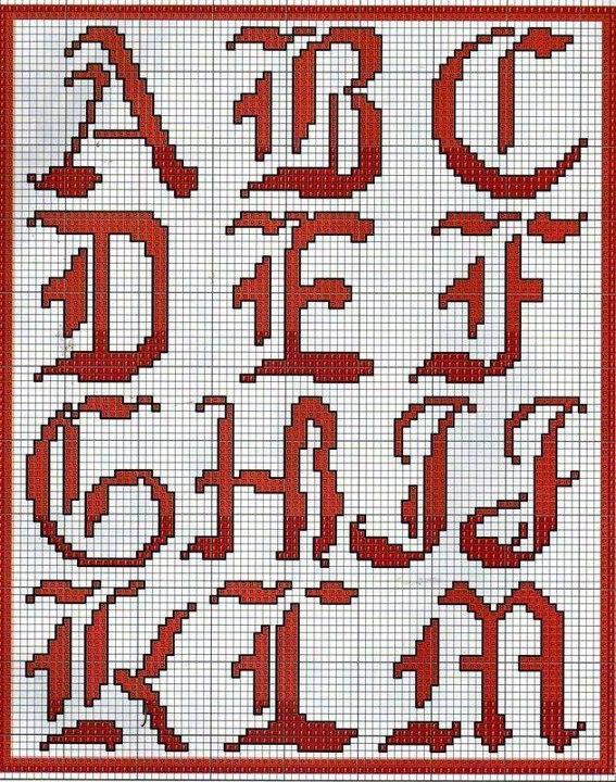 abecedario gotico en punto de cruz imagui