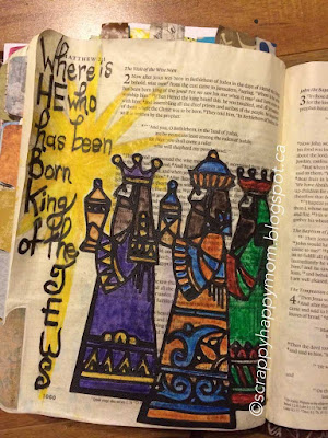 Matthew 2 Bible Journal Page by Lynn Shokoples