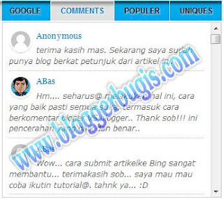 cara membuat recent comments dengan gambar avatar profil komentator di blogspot