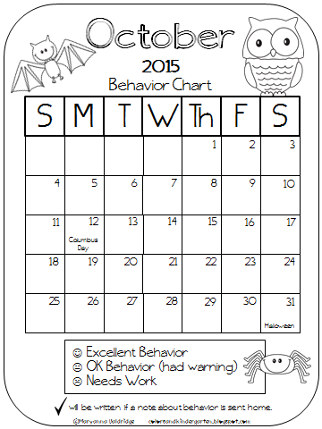 Colors and Kindergarten: New Behavior Calendars!