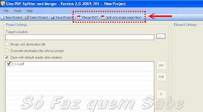 Os botões Merge PDF (juntar) e Split single Page files(dividir) são habilitados após a inclusão do primeiro arquivo PDF.