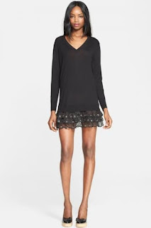 RED Valentino Hem Detail Sweater Tunic Dress