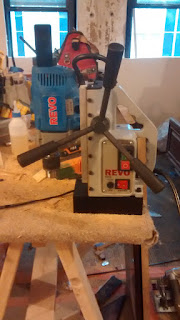 RevoR322 Compact ElectroMagnetic Drill Press sitting on Scottys jobsite work bench