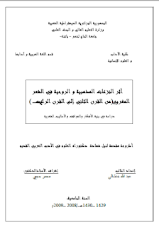 أثر النزاعات المذهبية والروحية في الشعر المغربي من القرن 2 إلى القرن 4 هـ - رسالة علمية