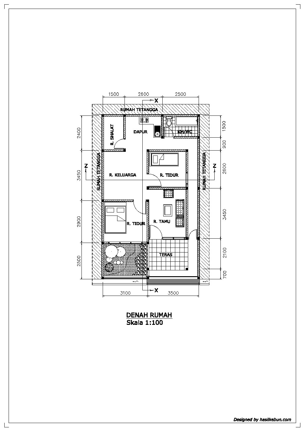 Contoh Gambar Denah Rumah Satu Lantai