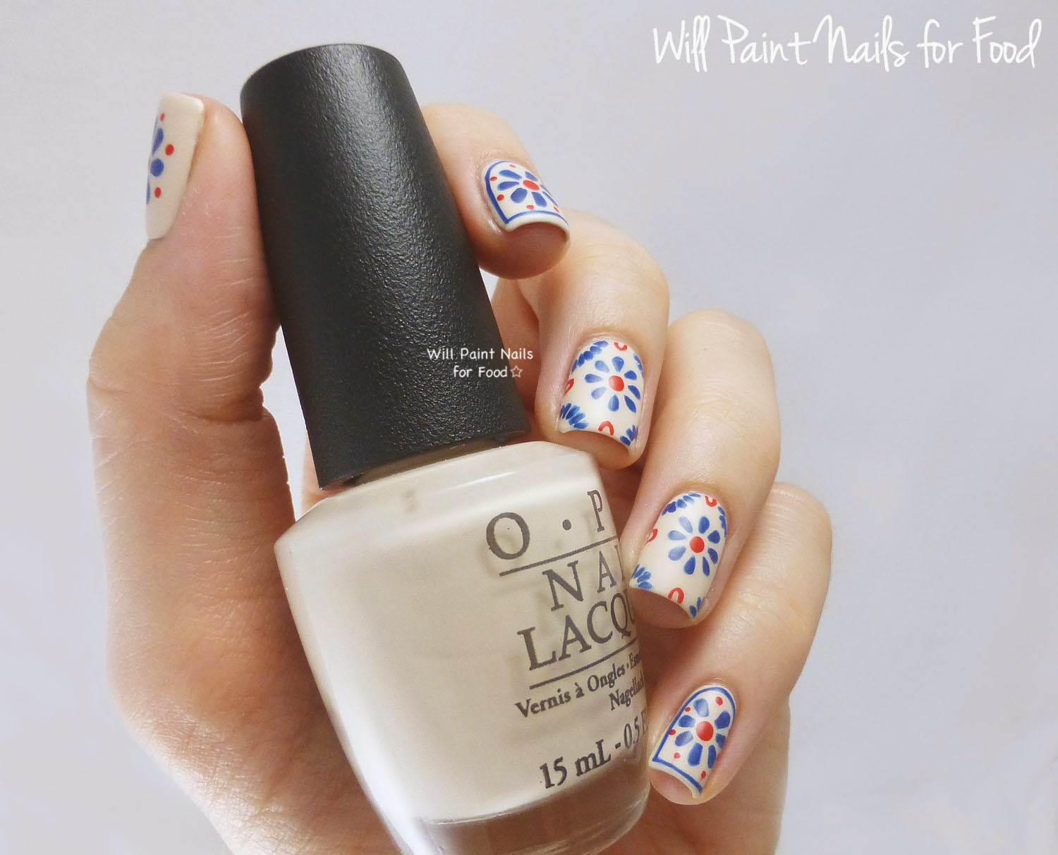 Talavera Pottery-inspired nail art