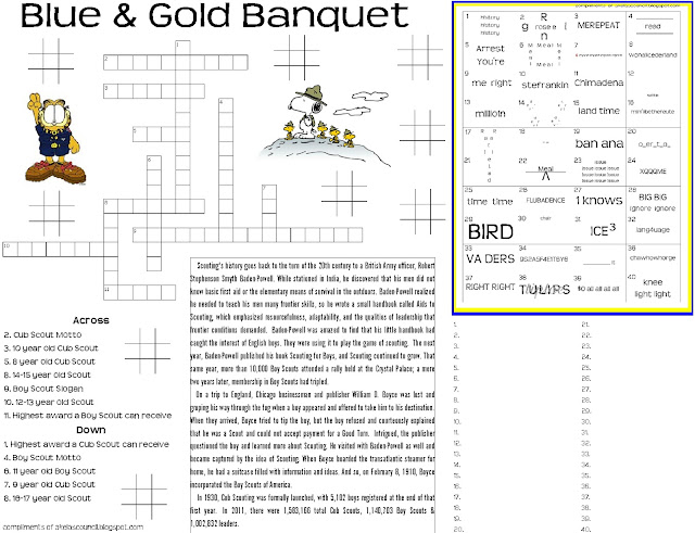 Printables Cub Scout Worksheets akelas council cub scout leader training blue and gold banquet dinner placemat preopener printable worksheet for the crossword puzzle cub