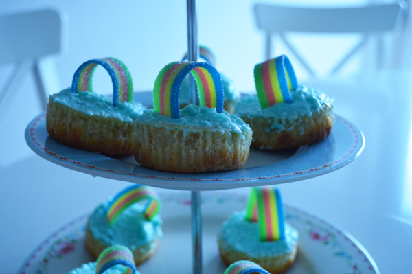 rainbow mini cheesecakes with coconut, perfect for a kids birthday