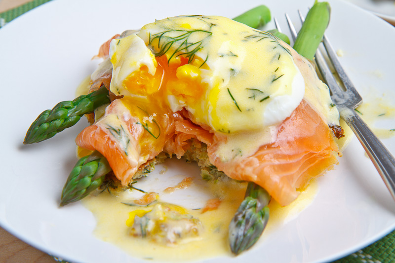 Smoked Salmon Asparagus Quinoa Cake Eggs Benedict on ...