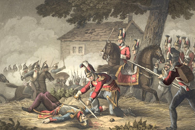 Horse Guards at the Battle of Waterloo from Historic, military and   naval anecdotes of particular incidents by E Orme & illustrated   by Heath & Dubourg (1819)