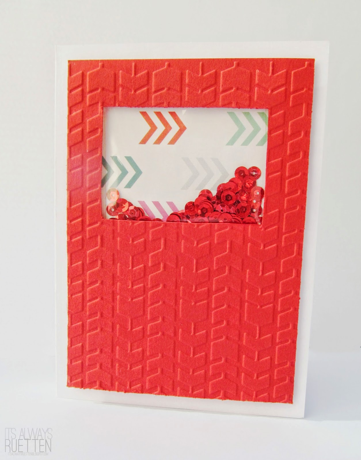 Embossed Red Chevron Sequence Window Card