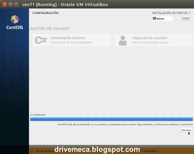 DriveMeca instalando Linux Centos 7.1 paso a paso