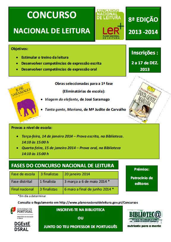 Concurso Nacional de Leitura - 1ª fase - Nível de Escola