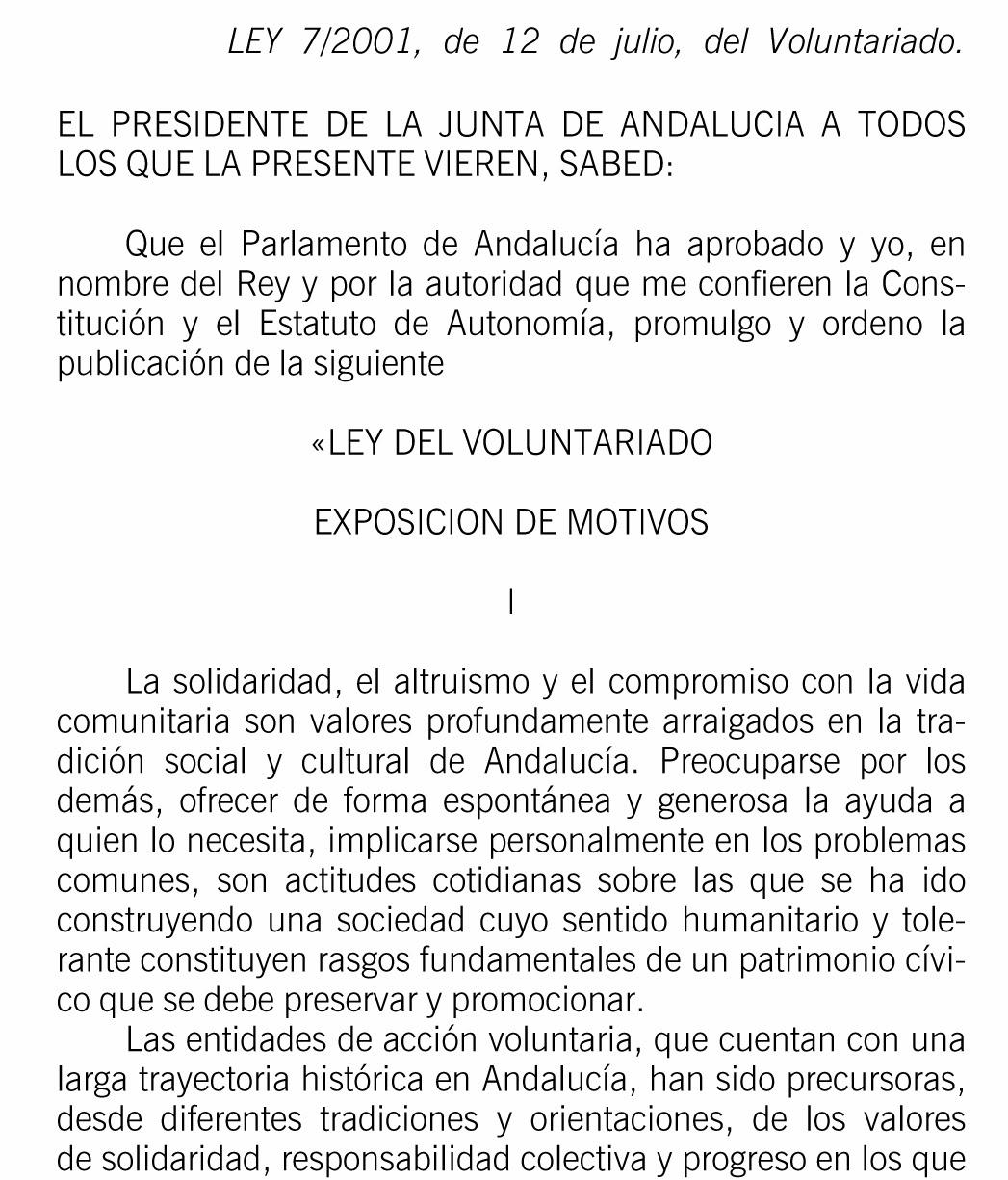 LEY ANDALUZA DEL VOLUNTARIADO
