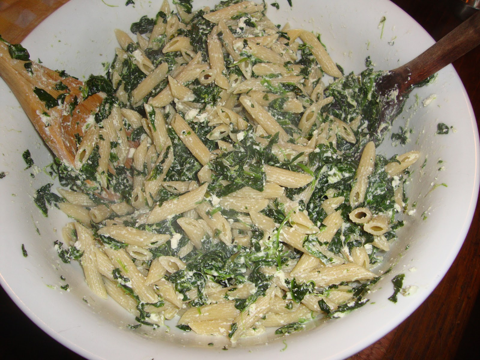 Live from Voorheesville: Penne with Ricotta and Spinach Sauce