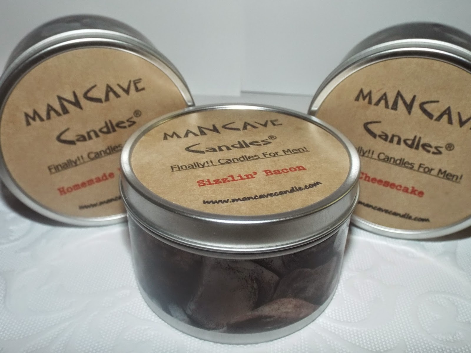 Man Cave Candles:  Sizzlin' Bacon, Cheesecake, Homemade Brownies