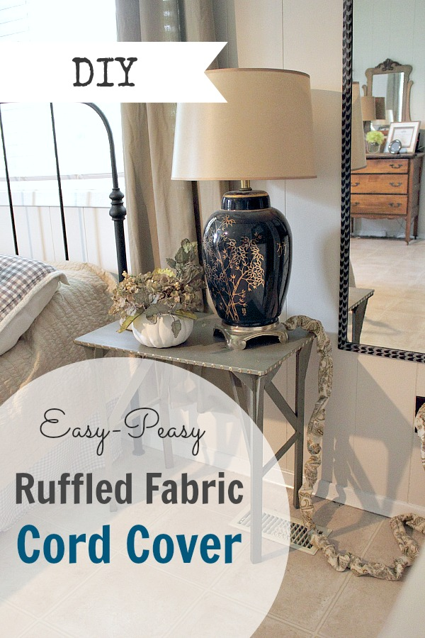 diy easy peasy ruffled fabric cord cover the creek line house. Black Bedroom Furniture Sets. Home Design Ideas