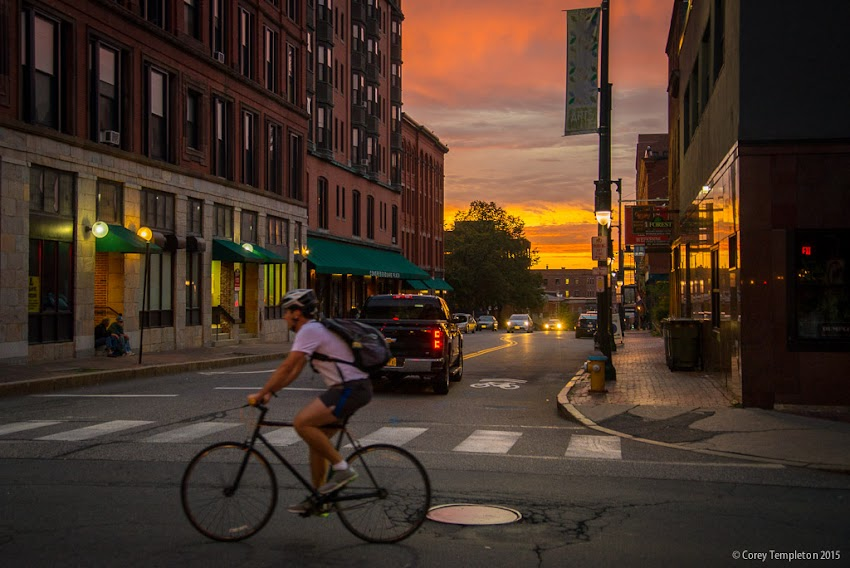 September 2015 Portland, Maine USA Photo by Corey Templeton of Sunset at Forest Avenue and Congress Street.