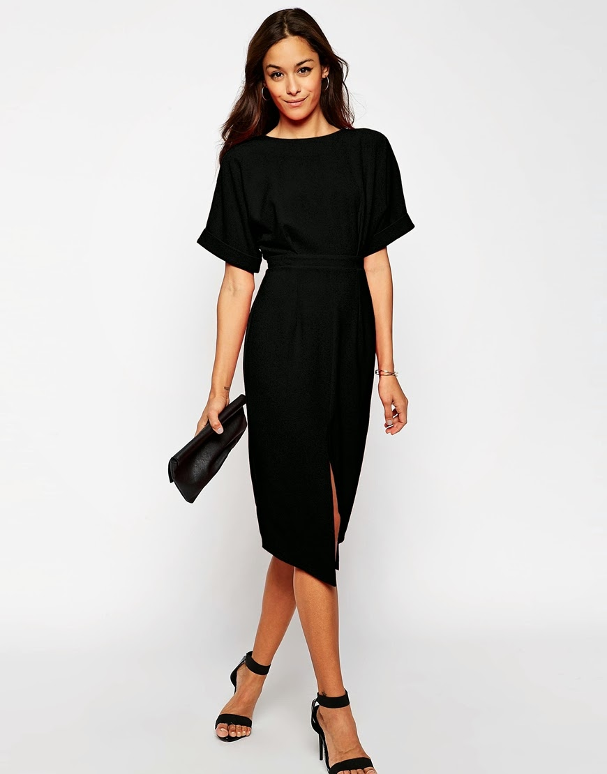 black loose split front dress, black asos split dress,