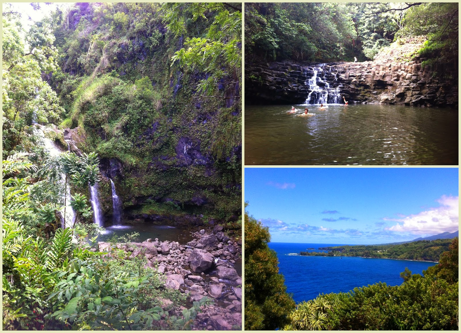 Pools and falls in Hana road Maui