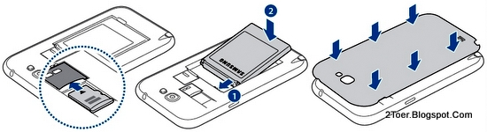 Insert microSD memory Card, Assemble Battery, Replace Cover Galaxy Note 2