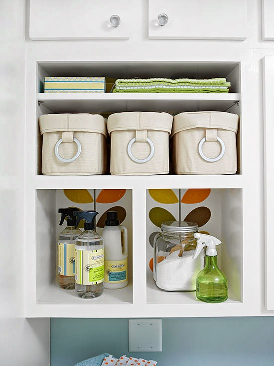New home interior design laundry room storage solutions for Laundry room shelving