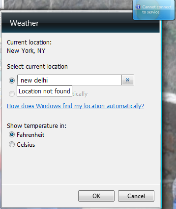 Weather gadget stops working