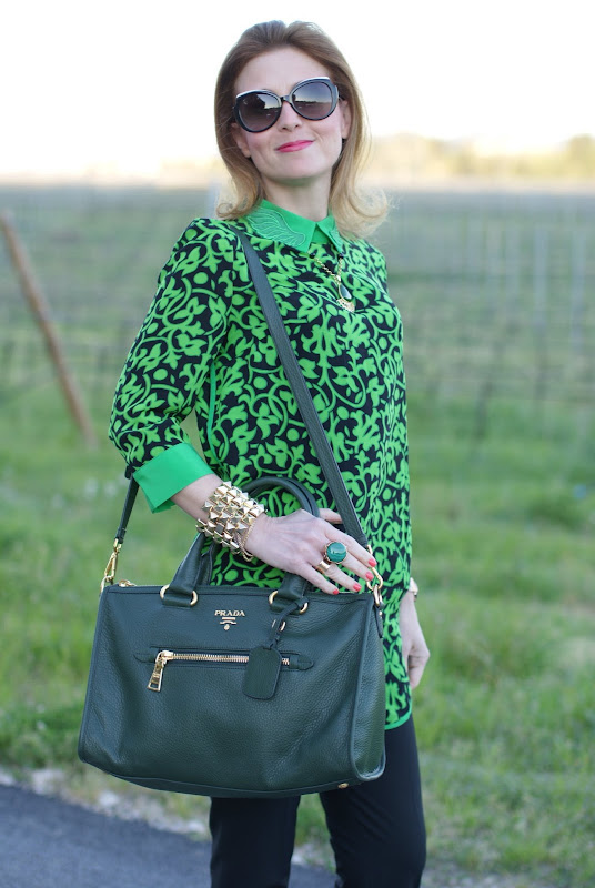 Prada bag, Taara jewelry, choies blouse