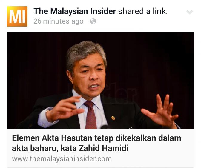 ZAHID HAMIDI U TURN Elemen Akta Hasutan tetap dikekalkan dalam akta baharu kata Zahid Hamidi Menteri Amaran 2