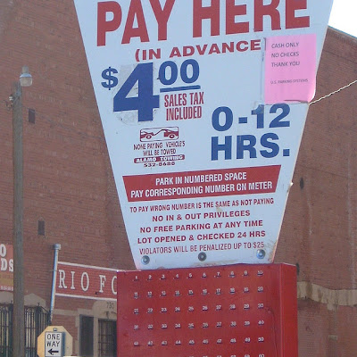 U.S. Parking lot pay box on San Antonio Street (detail), El Paso TX