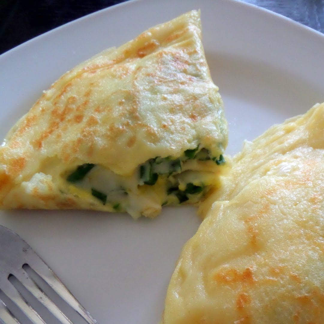 Egg and Cheese Crepes:  Protein packed crepes filled with more protein of eggs and cheese.
