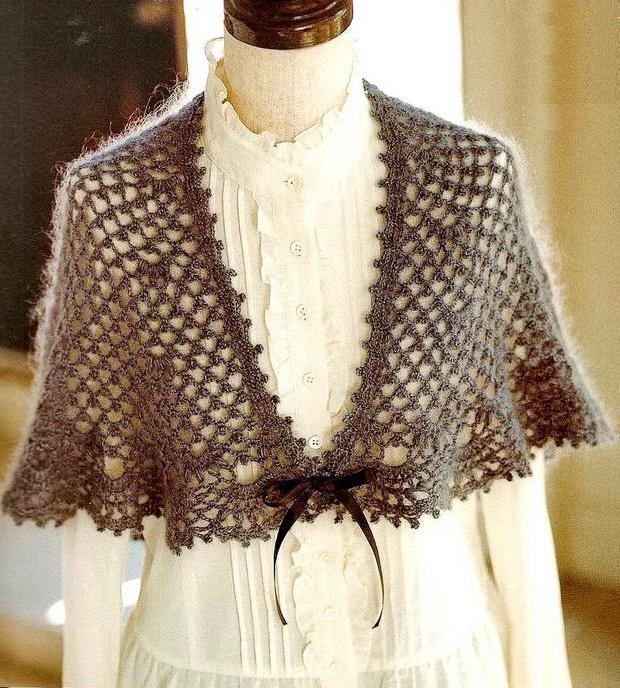 Easy Lacy Crochet Shawl Pattern : Stylish Easy Crochet: Crochet Lace Shawl Cape