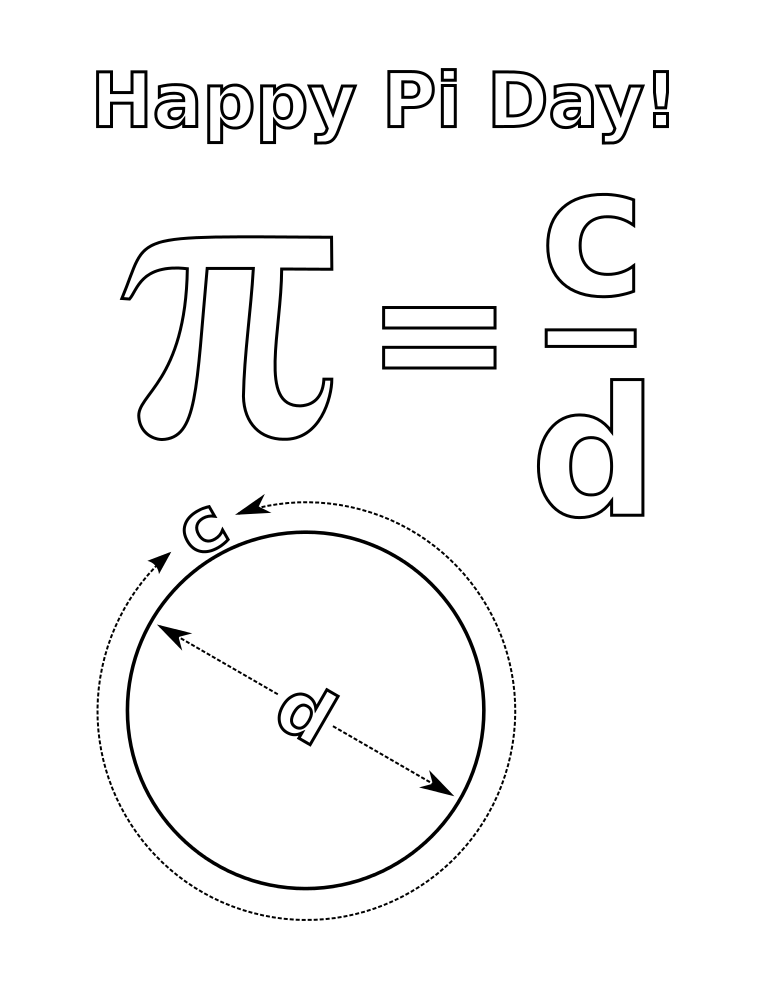 spacefem  coloring pages for pi day