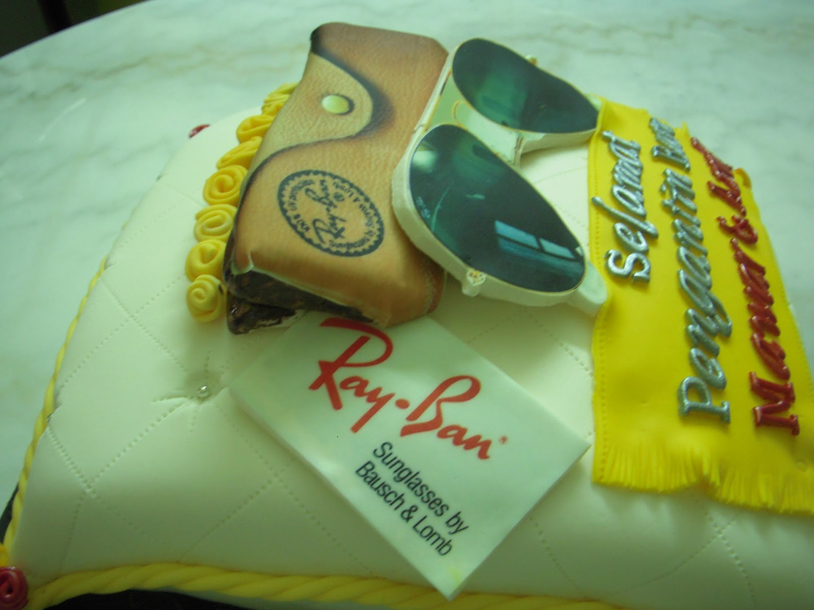 pillow cake with ray-ban, inside is vanilla butterscotch cake. idea ...
