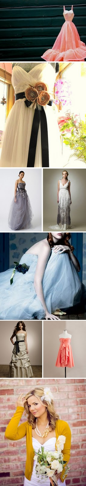 colored wedding dress collage