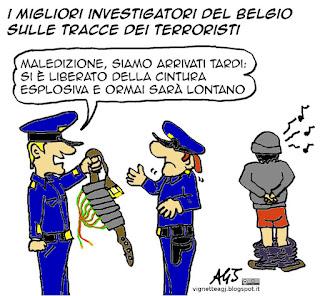 belgio, polizia, terroristi, cintura esplosiva, vignetta satira