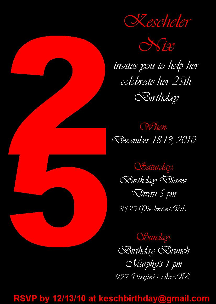 25Th Birthday Invitations is the best ideas you have to choose for invitation example