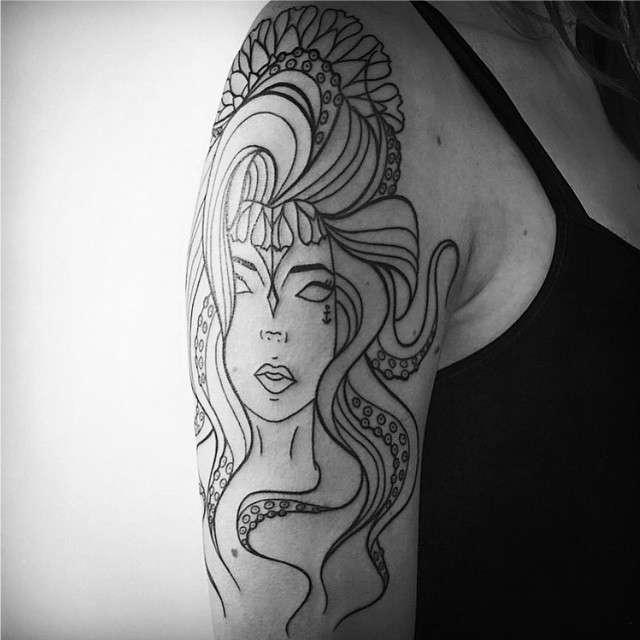Tatuagens Femininas Linework Mulher Polvo Tattoo Melina Wendlandt