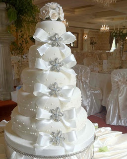 5 tier brooch white wedding cake with white roses and bows