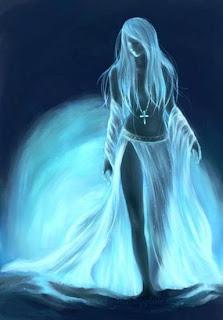 blue woman light