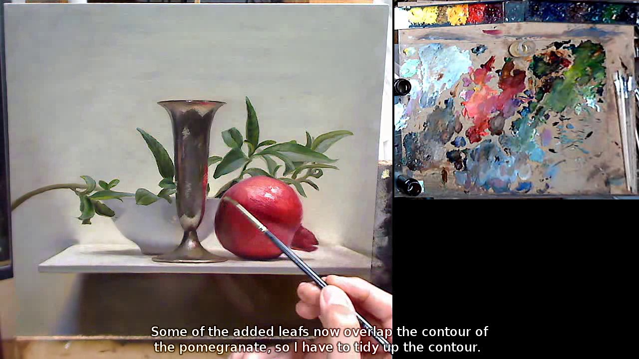 Oil painting demos by dutch artist jos van riswick pomegranate still life tutorial video - Deseed pomegranate less one minute video ...