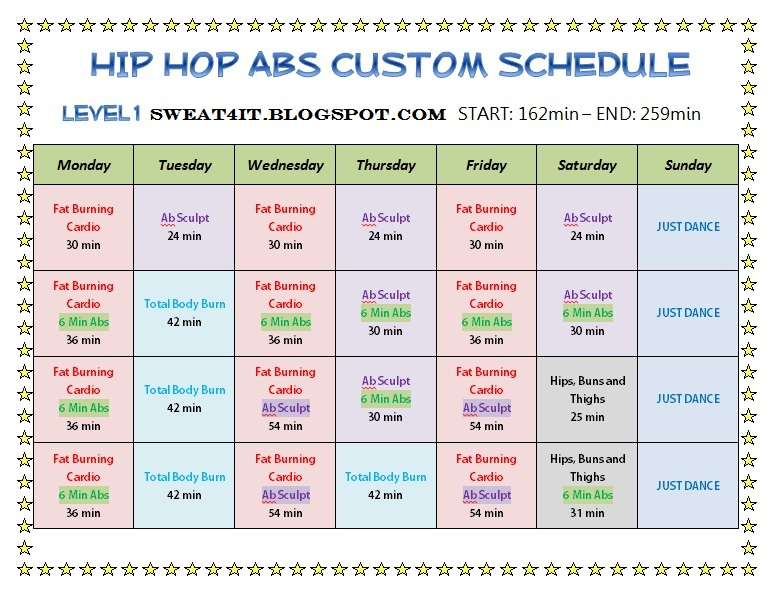 Hip Hop Abs Schedule hip hop abs schedule phase 1 ~ sweat 4 it